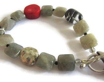 Labradorite Bracelet, Coral Silver Bracelet, Coral Labradorite, Coral Bracelet, Rutilated Quartz Bracelet, Red Gray Bracelet, Bird Bracelet