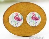 Buy 1 Get 1 Free - Vintage Flamingo Wooden Cabochon, Koala Wooden Button, 12mm 15mm 20mm  Round Handmade Photo Wood Cut Cabochon -- HWC045S
