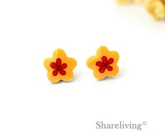 4pcs (2 pairs) Mini Flower Charm / Pendant, Stud Earring, Laser Cut Tiny Floral Earring, Perfect for Earring / Rings - YED021J