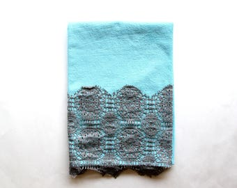 Light Blue Hand Dyed Tea Towel with Lace Trim - Mothers Day Gift Giving - Vintage Style Tea Towel - Mint and Grey Dish Towel