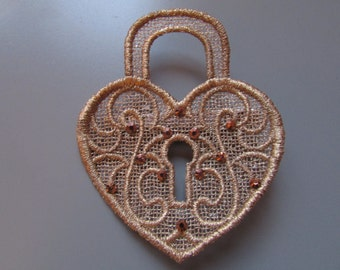 Metallic Copper Embroidered Heart Hairclip with Diamantes Steampunk