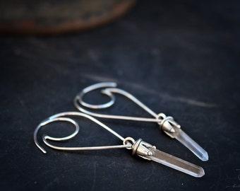 Quarz Hoops // Sterling Silver and Boho Luxe Bohemian Hoop Earrings metalwork welded earrings by BellaLili