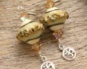 OM - Handmade Lampwork, Sterling Silver Earrings