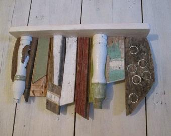 Rustic wood shelf, primitive wood shelves, cottage shelf, scrap art shelf, wall shelf, furniture, beach shelf, recycled wood shelf