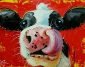 Cow painting 1196 12x16 inch original animal portrait oil painting by Roz