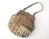 Vintage Tapestry Purse, Morris Moskowitz Purse, Boho Fashion, Colorful Indian Print, 1960s MM Purse, Change Purse, Gold Fabric Evening Bag