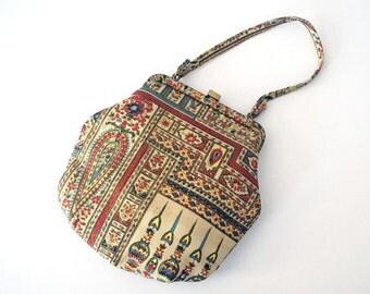 Vintage Tapestry Purse, Morris Moskowitz Purse, Boho Fashion, Colorful Indian Print, 1960s MM Purse, Change Purse, Gold Fabric Evening Bag