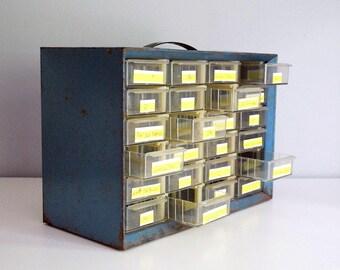 Metal Storage Bin, Hardware Organizer Box, Industrial Parts Drawers, Blue Metal Chest, Crafts Garage Organizer, Utility Cabinet, Man Cave