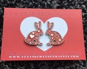 Love Bunny Enamel Pin Badge Brooch Heart Hare Rabbit Red Glitter Limited Edition