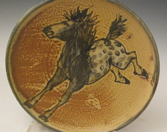 Plate with Appaloosa horses hand painted pottery