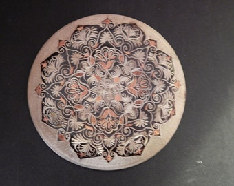 Vintage Copper Etched Wall Hanging . 7 1/2""