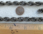 10 Feet, 4 Inches of Vintage Steel Rope Chain, Textured Design, 8mm Links
