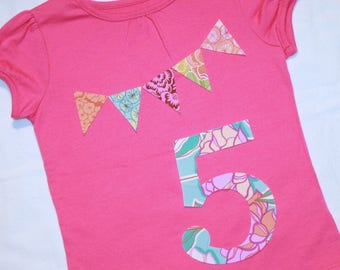Girls 5th Birthday Bunting Shirt - Size 5 short sleeve number 5 and pennant banner in pink and pastels