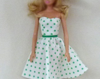 White with green dots Fashion Doll dress and crownless hat for 1:6 scale dolls