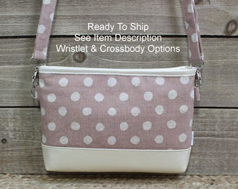 iPhone Crossbody Purse, READY TO SHIP, Cell Phone Wristlet Clutch, Samsung Galaxy Note, Cell Phone Purse Clutch, Card Slots Blush Linen Dots