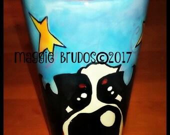 whimsical ceramic hand painted bernese mountain mug love lucking star  bernese mountain dog heart valentine  maggie brudos tangerine studio