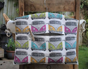 Clothespin Bag, Peg Bag in Multicoloured Camper Vans Print Fabric