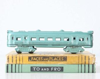 Vintage Toy Train, Green Metal Train Car, Japan