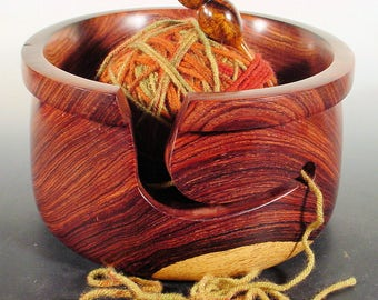 Exotic Rare Cocobolo Rosewood Wooden Yarn Bowl Turned Wood Bowl Art  Number 6555