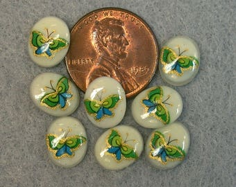 Vintage TENSHA CABOCHONS Butterfly Porcelain OVAL 8mm pkg8 por220