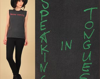 Vintage The Talking Heads T-Shirt // '83 Speaking in Tongues Tour // Threadbare Super Soft Muscle Tee Sleeveless 80s Punk Rock New Wave