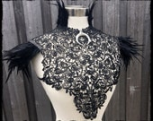 Moon Goddess Tribal Feather Lace Collar, Size S-M-L - Ready to Ship - Festival Costume Gothic Belly Dance Pagan Warrior Voodoo Cosplay Raven