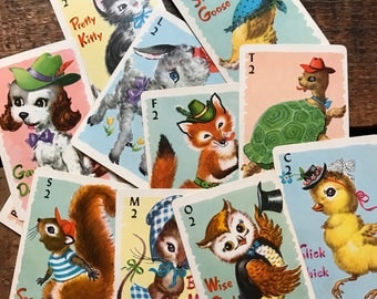 Animal Rummy Cards - Set of 11 - Cute Baby Animals, Vintage Animal Cards, Children's Playing Cards, Whitman Cards, Animal Playing Cards