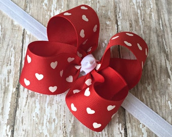 Valentine Headband Valentine Red Heart Headband Red Heart Big Bow Headband Red Baby Headband Red Toddler Headband Large Bow Headband