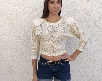 Vintage 1980's lace crop top