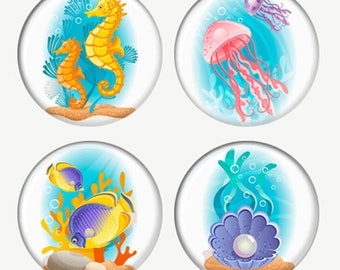 Cute Sea Creatures Magnets or Pinback Buttons or Flatback Medallions Seahorses Jellyfish Fish Pearl In SeaShell