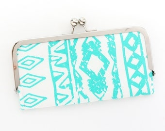 Turquoise and White Aztec Cell Phone Wallet Clutch with Kisslock Frame Closure in Tribal Printed Cotton