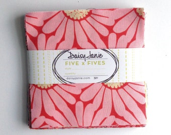 Precut Bundle - Pack of 5 x 5s - Daisies 'N Such Collection - organic cotton fabric by Daisy Janie