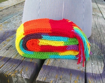 Knitted Rainbow Striped Long Scarf Red Orange Yellow Lime Green Turquoise Purple Ready to Ship