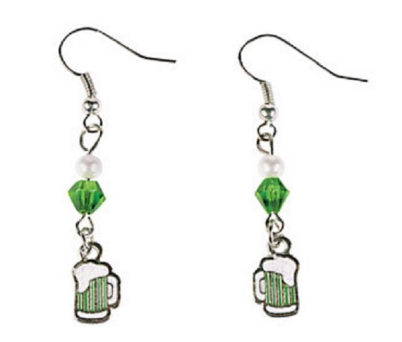 St. Patrick's Day Green Beer Earrings