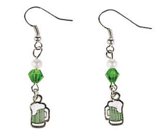 St. Patrick's Day Green Beer Earrings