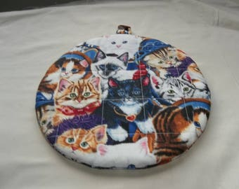 Pot Holder, Hot Pad, Cats, All Dressed Up, Round, Quilted, Trivet,  Cotton, 9 Inches, gift