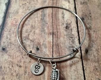 Hand grenade initial bangle - hand grenade jewelry, army jewelry, military bracelet, grenade bracelet, gift for military wife, marine bangle