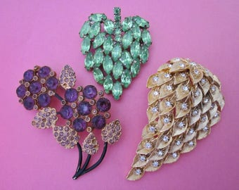 Rhinestone Brooches DeStash lot of three
