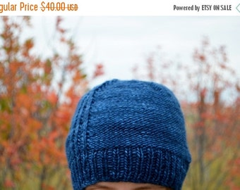 February Sale Frank - Blue Reversible Hand Knit Beanie in Soft Merino Wool - Fall Fashion, Men, Women, Unisex, Textured Traditional Knit Hat