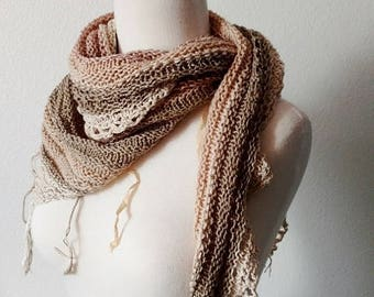 May Sale - 20% off Boho Triangle Scarf in Natural Fibers - Rustic Wedding Bridal Wrap, Triangle Scarf, Shawl. Burlap Look, Natural Linen, Ru