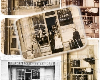 Antique French Business Scene Hotel de Paris Pastry Shop Soldier with Box of Sweets Victorian Ladies Digital 8x10 Page