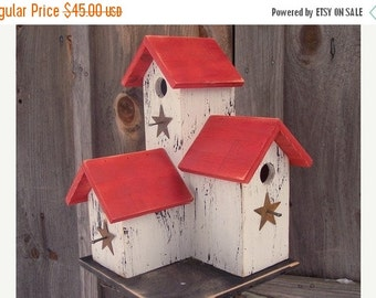 Snow Storm Sale Primitive Country Condo Birdhouse White and Red Three Nesting Boxes