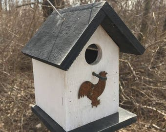 Birdhouse White Black Rustic Primitive Chickadee Wren Cute Songbirds