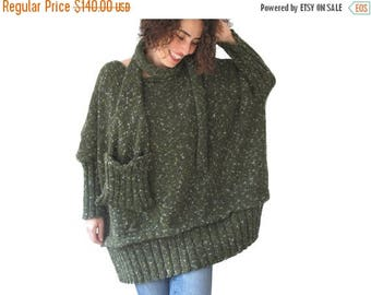 CLEARANCE 50% Tweed Green Over Size Sweater with Pocket Scarf by AFRA Sweater - Scarf Set Plus Size
