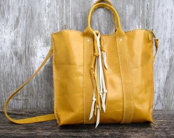 Leather Mini Tote Bag in Saffron by Stacy Leigh with Rustic Fringe Embellishment and Detachable Strap