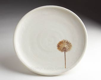 White Ceramic Plate - Pottery Botanical Plate - Stoneware Plate - Dandelion - 9 inch white plate