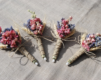 1 One Autumn or Fall Wedding Lavender Coral Larkspur and Wheat Boutonniere or Corsage