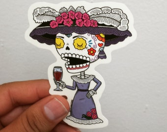 Catrina Calavera Clear Die Cut Vinyl Sticker