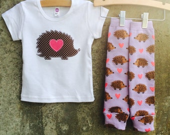 Kids Shirt and Leg Warmer Set - HEDGEHOG LOVE - Fun Children's Birthday or Valentine's Day Gift