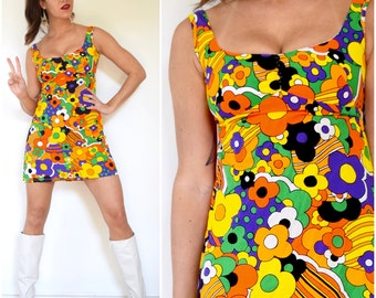 Vintage 60s 70s Psychedelic Flower Power Print Micro Mini Cotton Dress (size xs, small)